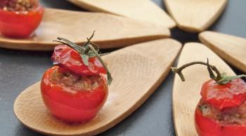 tomates cerises à la Bourguignonne (roasted and stuffed summer cherry tomatoes)