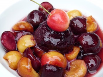 marinated cherries with blueberry sorbet and cherry brandy whipped cream