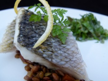 crispy and shiny loup de mer with Umbrian lentils by Chef Morgan