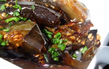 honey and soy roasted eggplant with flaxseeds chef morgan