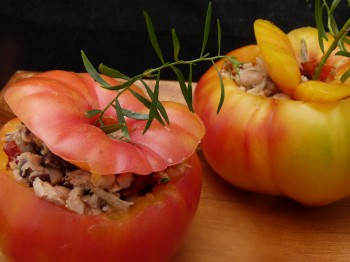 fresh stuffed heirloom tomatoes with tuna, Cannellini beans and tarragon