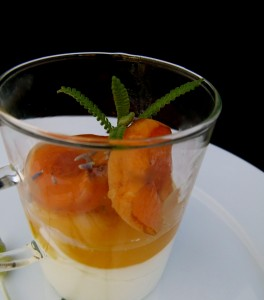 grilled apricots and lavender honey over fromage blanc