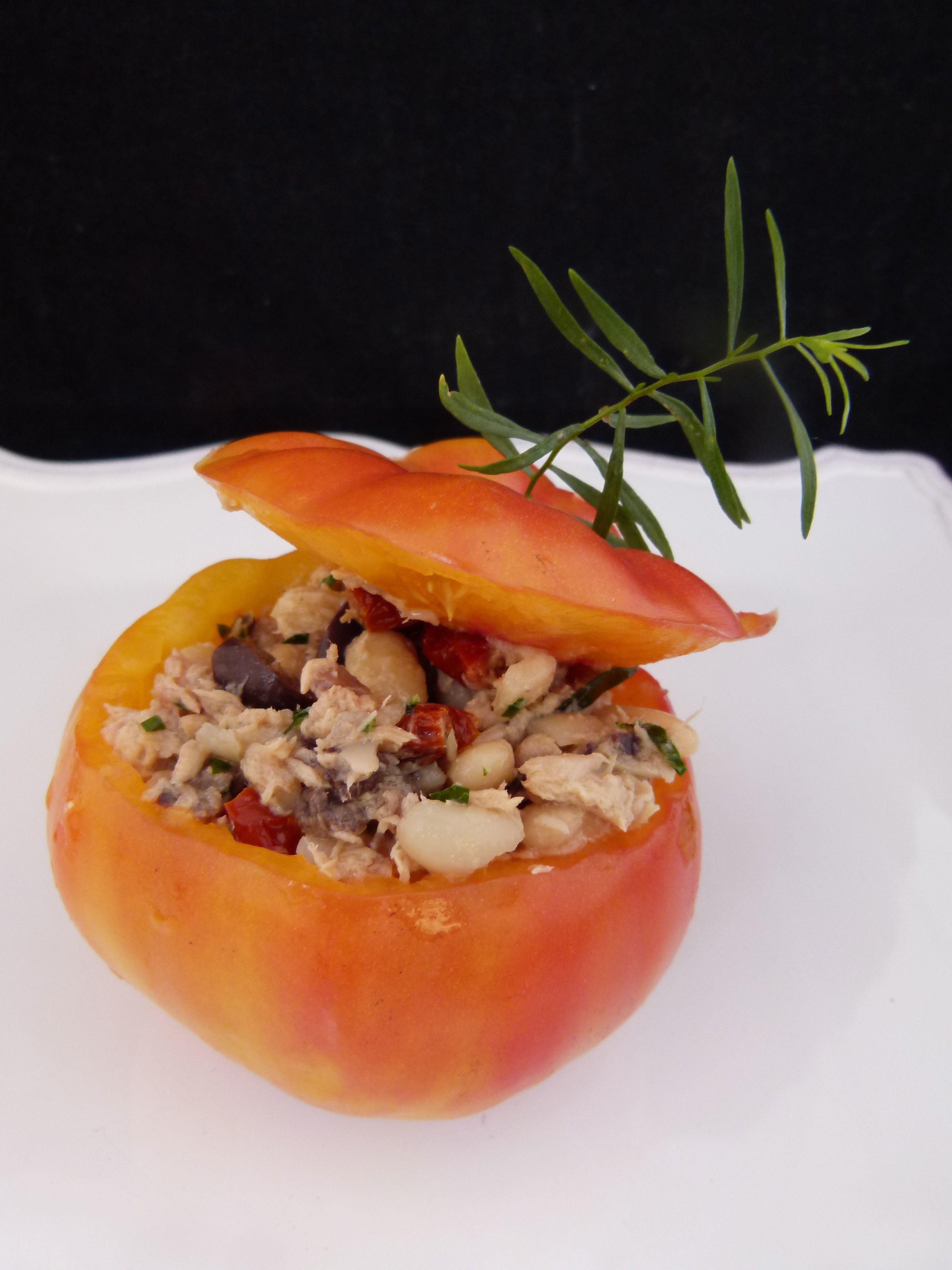 fresh stuffed heirloom tomato with tuna, Cannellini beans and tarragon
