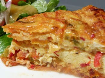 Piperade crustless quiche with salad