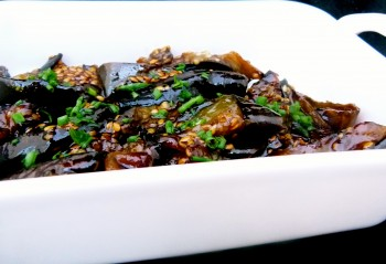 honey and soy-roasted eggplant with flaxseeds