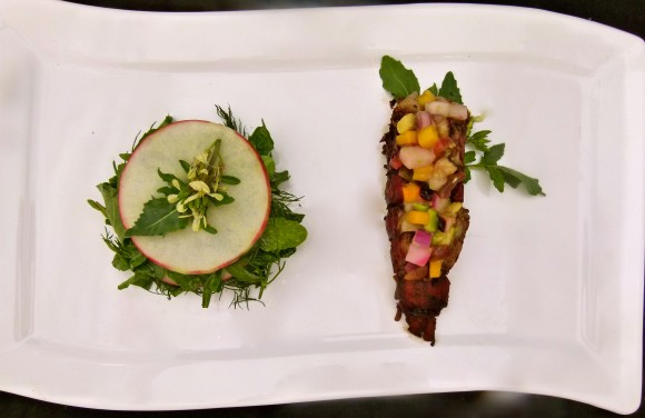 chilled lobster farce in balsamic and muscat reduction served with an arugula, herb and apple mille-feuille