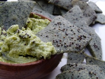 Chia Seed Chips with Soybean Hummus