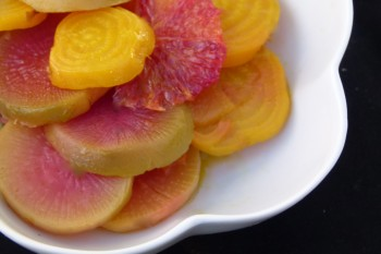 roasted golden beets and watermelon radishes with blood orange segments