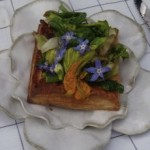 spring vegetable and flower savory tart with goat cheese (March 3, 2011)