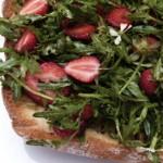 wild arugula and strawberry salad on a Ciabatta plank (April 15, 2012)