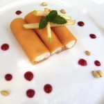 melon and honey-ricotta cannoli (with raspberry coulis) (August 20th, 2012)