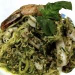 "seafood ""zucc-ghetti"" with fresh herb and walnut pesto  (August 27th, 2012)"