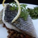 crispy, shiny loup de mer with Umbrian lentils (July 21, 2011)
