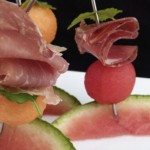 melon and herb skewers with prosciutto and lomo