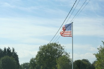 American Flag flying in Normandie France