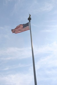 The american Cemetery and Omaha Beach American Flag