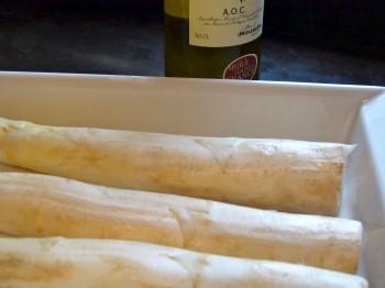 white asparagus as large as logs