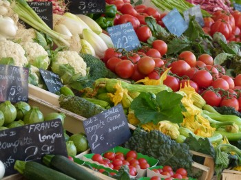 fresh vegetables at a summer market in Nice France