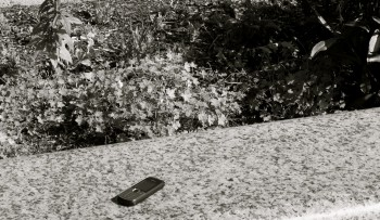 cell phone on grass at the American Cemetery in Omaha Beach France