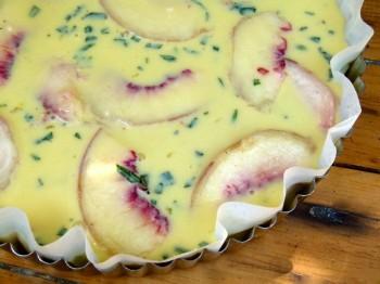 peach and tarragon clafoutis (clafouti aux pêches et estragon) unbaked chef morgan