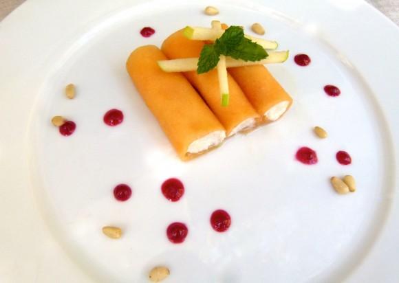 cantaloupe and honey-ricotta cannoli (with raspberry coulis)