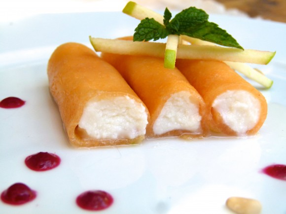 melon and honey-ricotta cannoli (with raspberry coulis) chef morgan