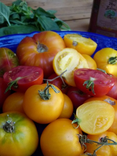 cut heirloom tomatoes