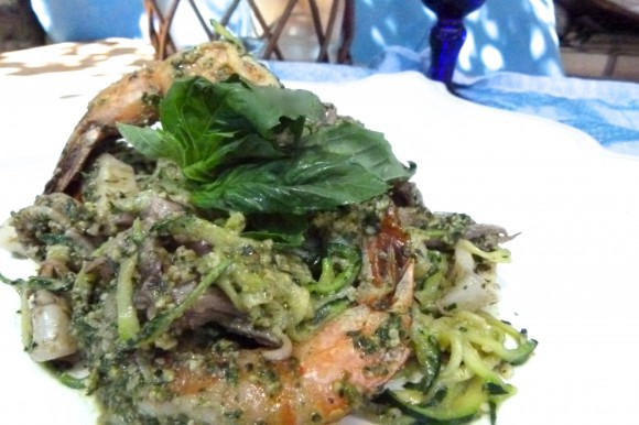 "seafood ""zucc-ghetti""  ( zucchini spaghetti ) with fresh herb and walnut pesto"