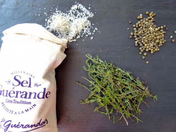 Thyme green peppercorns and sel Guerande