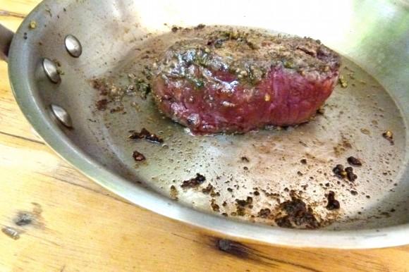 cooked pan sear steak au poivre vert