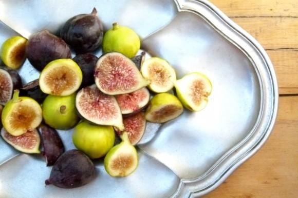 figs on silver platter