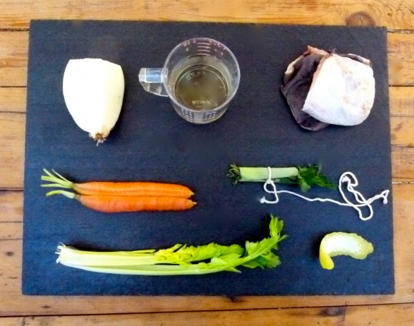 Vegetables and spices for fish stock
