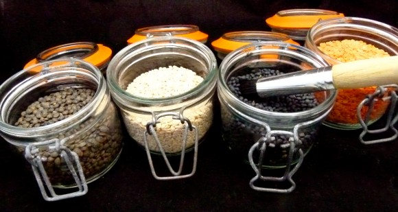 lentils in jars