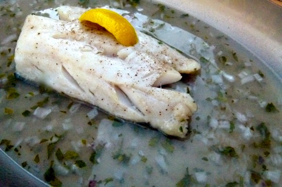 ghostly fish in black lentil night sky  (braised black cod on Beluga lentils with fresh thyme)
