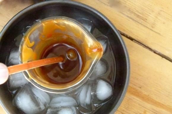 balsamic caramel in ice bath