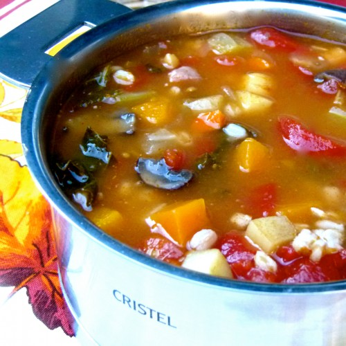 harvest minestrone with autumn vegetables and farro