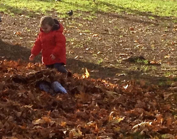 paris boy and father in leaves