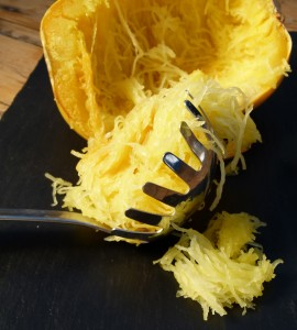 spaghetti squash being removed