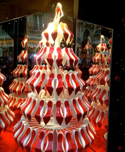 Red shoes as a christmas tree