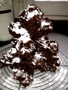 chocolate christmas tree dusted with powdered sugar