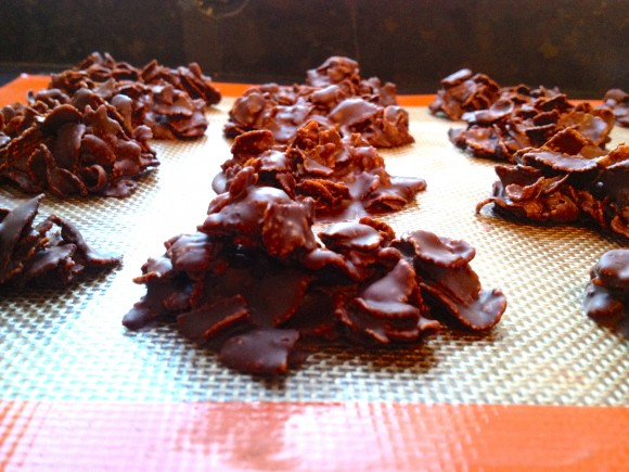 chocolate and corn flakes ready for baking
