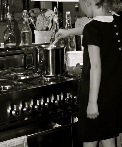 girl cooking in a home kitchen