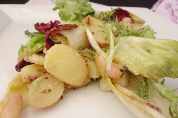 potato and wilted escarole salad  for valentines day