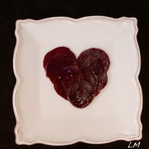 Valentine beet carpaccio in heart shape