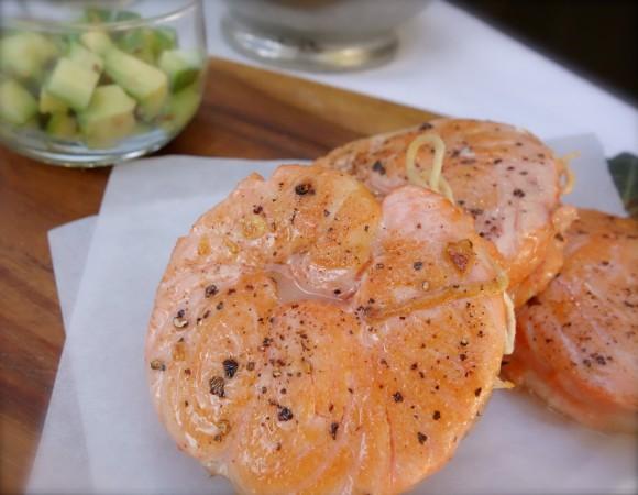 pan-seared salmon circles (tournedos de saumon)