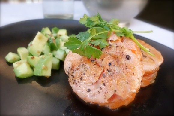 pan-seared salmon circles (tournedos de saumon)   with avocado