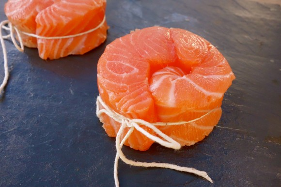 salmon filets tied in circles