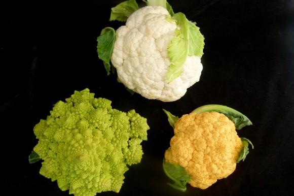 three Romanesco Cauliflowers