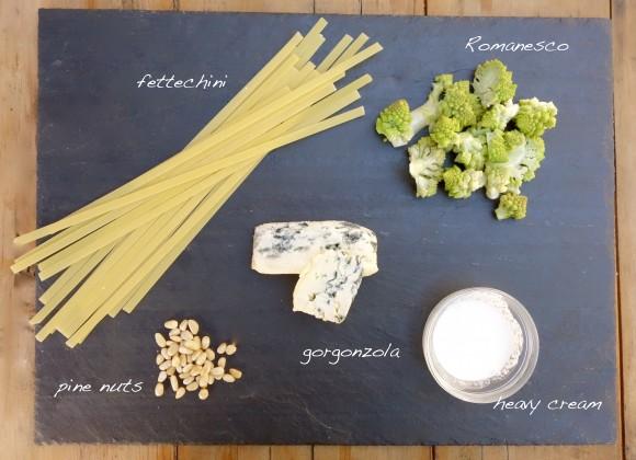 Romanesco Cauliflower fettechini with Gorgonzola  for Mardi Gras ingredients, pine nuts gorgonzola, heavy cream