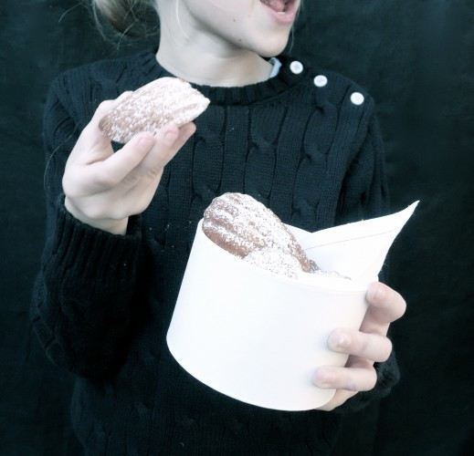 girl eating the perfect Madeleine
